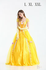 Hot Beast Belle Princess Fancy Yellow Beauty Party Fancy Dress Costume Cosplay