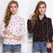 Womens Turn-down Collar Red Lip Printed ShirtS Autumn Chiffon long Sleeve Blusa