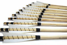 New White Shield MEDIEVAL Wooden Arrows Handmade Shaft for Bow Archery Practice