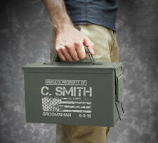 Personalized .50 Cal Ammo Box Can Groomsmen Gift Box Wedding Father Dad Gift