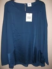 MAMA-LICIOUS MLNORI MATERNITY TOP/BLOUSE BLUE MED L/S SCOOP NECK LINED RRP £42