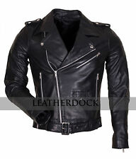 Mens Brando Styled Black Biker Genuine Leather Motorcycle Casual Leather Jacket