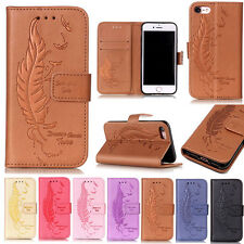 Magnetic Feather Pattern Flip Leather Wallet Case Stand Cover For iPhone Samsung