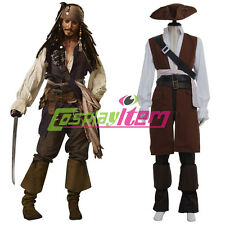 Pirates of the Caribbean Cosplay Captain Jack Sparrow Costume Outfit Suit Custom