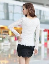 Stretch Top Fashion Casual  T-Shirt O-neck Ladies Blouse Women Lace Long Sleeve