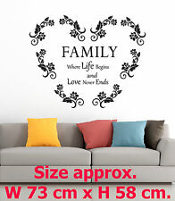 Family where life begins Art Heart of Roses Home Room Wall Vinyl Stickers Quotes
