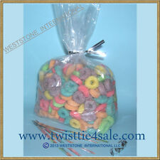 100pcs 10x6x20 - 1 mil gusseted clear gift candy bags + free twist tie (1396)
