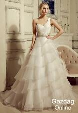 Helen Fontaine One-Shoulder Organza Wedding Dress with Beading Belt Bridal Gown