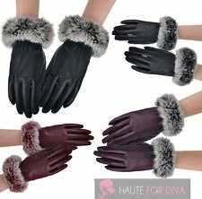 NEW WOMEN'S SOFT REAL RABBIT FUR CUFFS LEATHER LINING WINTER GLOVES ONE SIZE