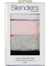 Slenderella Slenders Black, Grey, Pink and White Cotton Mini Brief 4 Pack BF86