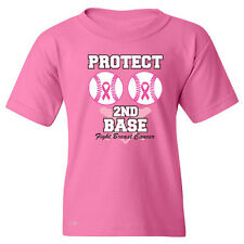 Save The Second Base Protect Second Base YOUTH T-shirt Breast Cancer Awareness