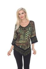 Krista Lee Coachella Tunic Top Blouse Embroidered Beaded Print Fabric Green Blk