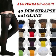 60% SALES 40 DEN SEXY GARTER-TIGHTS with LACE SZ. S-XXXL Colours Glossy