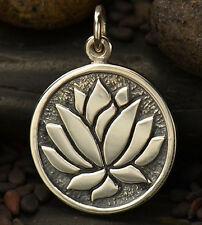 """925 Sterling Silver Lotus Flower Necklace Etched Pendant Namaste Yoga 16"""" 18"""" 20"""