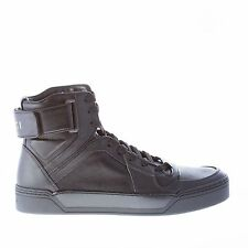 GUCCI men shoes Black leather high-top sneaker with ankle strap