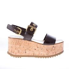 CAR SHOE women shoes Black leather cork wedge sandal with two golden buckles