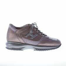 HOGAN women shoes Interactive grey ray print leather sneaker with suede trims