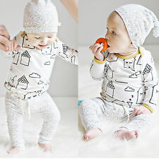 Toddler Boy Girls Long Sleeve T-shirt Tops+Pants Baby 3pcs Outfits Clothes Set