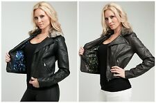 NWT Women Stylish removable faux fur trim faux leather motorcycle style jacket!