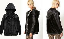 NWT Women Forever 21 faux leather faux fur hooded bomber button down jacket Coat