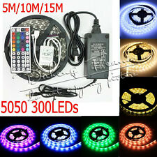 5M 10M 15M 5050 RGB White SMD Flexible Light LED Strip 12V 5A Power Remote IR