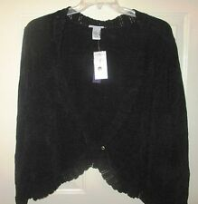 Black Lace Bolero Sweater Size 1X 18 20 or 4X 30 32 Shrug by Catherines Top NWT