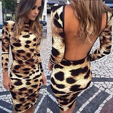 Sexy Women Backless Leopard Print Long Sleeve Slim Dress Bodycon Mini Dress