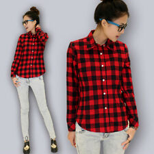 Womens campus plaid check shirt long sleeve flannel button down blouse top Hot