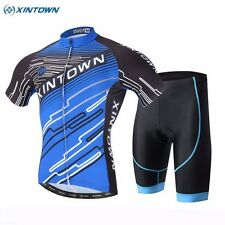 XINTOWN Outdoor Ropa Ciclismo Cycling  Jersey Short Sleeve (Bib) Shorts Set Blue