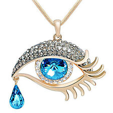 Faceted Crystal Oval Tear Drop Bead Eye Shape Design Pendant Link Necklace MXT
