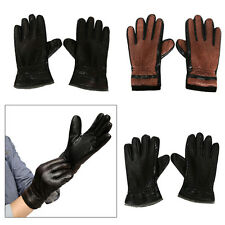 Mens Winter Leather Warm Gloves Driving Motorcycle Womens Full Finger Mittens