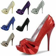 WOMENS SPARKLY GLITTER PLATFORM HIGH HEELS ANKLE STRAPS PUMPS SHOES SIZES 3-8