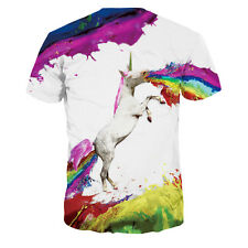 New 3D Horse Printed Short Sleeve Crew Neck Tee Mens T-Shirt Slim Fit Tops
