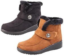 Womens Ladies Fur Collar Warm Winter Flat Pull On Ankle Boots Shoes New Size 3-8