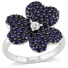 Sterling Silver Created Blue and Created White Sapphire Flower Ring