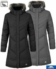 New Womens Trespass Sachs Down Jacket Long Length Winter Coat Detachable Hood