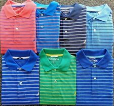 NEW MENS NAUTICA S/S PIQUE STRIPED DECK POLO GOLF SHIRT, PICK COLOR & SIZE, $65