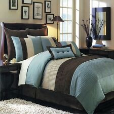 8pc Luxury Blue Beige and Brown ColorBlock Bedroom Comforter Set with Pillows