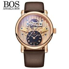 Angela Bos Mens Skeleton Dial Automatic Mechanical Leather Band Wrist Watch O8Z1