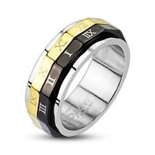 AF Stainless Steel Ring Silver gold black Spinner Roman Numerals