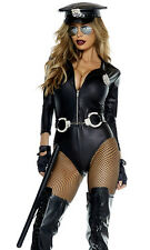 Forplay Sexy Do Not Cross Cop Police Officer Black Bodysuit Uniform Costume