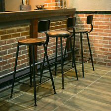 VINTAGE RETRO INDUSTRIAL STEEL BAR STOOL KITCHEN COUNTER DINNING CHAIR WITH BACK