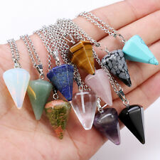 New Natural Quartz Crystal Healing Chakra Gemstone Pendant Reiki Silver Necklace