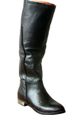 NEW STEVE MADDEN LEATHER BOOTS 7 7.5 37 38 $350 WOMEN BLACK RIDING