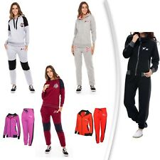 X-2 Womens Athletic Full Zip Fleece Tracksuit Jogging Gym Sweatsuit Hooded Top