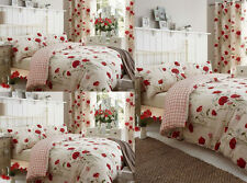 COMFORTER CATHRINE REVERSIBLE WILD POPPIES FLORAL DUVET QUILT COVER BEDDING SET