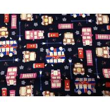Union Jack London Themed Navy Fabric - New  Designer Fabric - Just Arrived