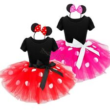 Girls Polka Dots Minnie Mouse Outfit Halloween Xmas Costume Tutu Dress+ Headband