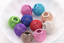 Big Hole Colorful Large Mesh Bling Rondelle DIY Ball Beads Fit European Charms