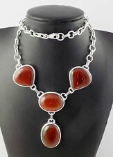 "Natural Red Onyx Oval and Heart Shape Cabochon 925 Sterling Silver 20"" Long"